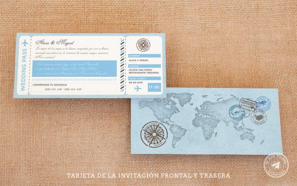 invitaciones de boda billete de avion vintage, invitaciones viajeras12