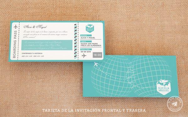 invitaciones de boda billete de avion, invitaciones viajeras, invitaciones de boda boarding pass