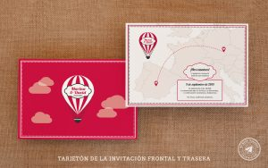 invitaciones de boda viajeras tarjeton, invitaciones viajeras, invitaciones de boda globo aerostatico,
