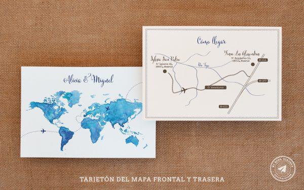 invitaciones de boda viajeras tarjeton, invitaciones viajeras, invitaciones de boda mapamundi acuarela